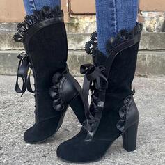 婦人向け PU チャンクヒール ブーツ ミッドカーフブーツ とともに シャーリング レースアップ 靴