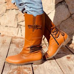 Vrouwen Kunstleer Low Heel Half-Kuit Laarzen Ronde neus met Gesp schoenen
