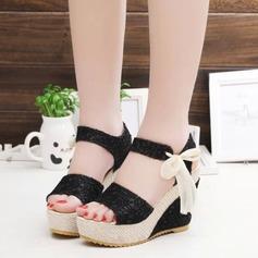 Pentru Femei Ţesătură Platforme Înalte Sandale Platforme Puţin decupat în faţă Borsete cu Nod Toc din Bijuterii pantofi