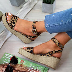 De mujer PU Tipo de tacón Sandalias Encaje con Hebilla Estampado de animales zapatos