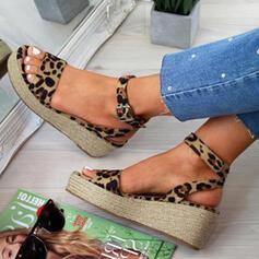 PU Γωνία κλίσης Σανδάλια Ανοιχτά σανδάλια toe Με Πόρπη Αποτύπωμα ζώου παπούτσια