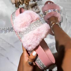 Women's Leatherette Sparkling Glitter Flat Heel Sandals Platform Peep Toe Slippers With Rhinestone Faux-Fur shoes
