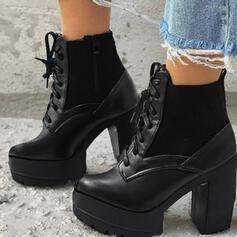 De mujer PU Tacón ancho Botas al tobillo Martin botas Encaje con Cordones Color sólido zapatos