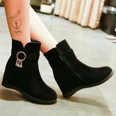 Women's Suede Wedge Heel With Buckle Zipper shoes