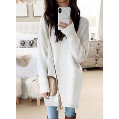 Solido Girocollo Casual Lungo Abito maglione