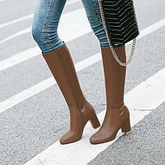 Dámské PU Široký podpatek Kozačky nad kolena Kolem špičky S Solid Color obuv