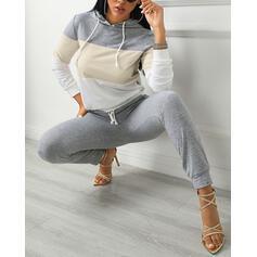 Capucha Manga Larga Bloque de color Casual Conjuntos de top y pantalones