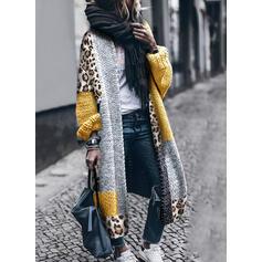 Blocchi di colore leopardo Casual Lungo Cardigan