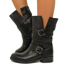 De mujer PU Tacón ancho Botas longitud media con Hebilla Cremallera zapatos