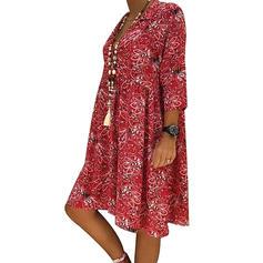 Print/Floral 1/2 Sleeves Shift Knee Length Casual/Boho/Vacation Tunic Dresses
