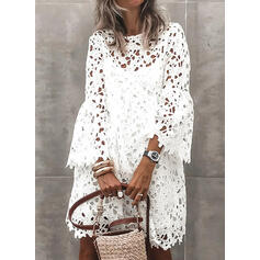 Solid/Hollow-out 3/4 Sleeves/Flare Sleeves Shift Above Knee Casual/Vacation Tunic Dresses