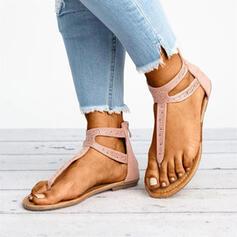 De mujer PU Tacón plano Sandalias Encaje con Cremallera Color sólido zapatos