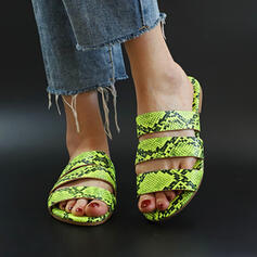 De mujer PU Tacón plano Sandalias Encaje Pantuflas con Estampado de animales zapatos