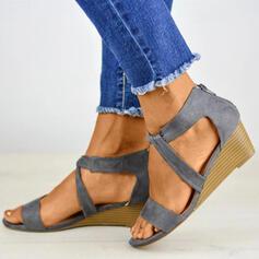 De mujer PU Tacón bajo Sandalias Encaje con Cremallera zapatos