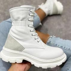 De mujer PU Plataforma Martin botas con Cordones Color de empalme zapatos