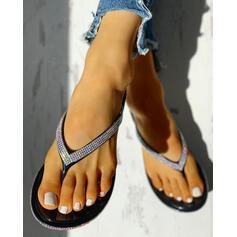 Femmes PVC Talon plat Sandales À bout ouvert Chaussons avec Strass chaussures