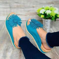 De mujer PU Tipo de tacón Sandalias Encaje Pantuflas con Flor zapatos