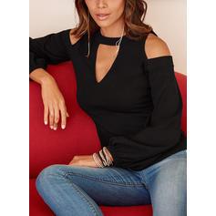 Jednobarevný Odhalená Ramena Dlouhé rukávy Neformální Elegant Bluze