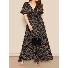 Duży rozmiar lampart Krótkie rękawy Sukienka Trapezowa Maxi Nieformalny Sukienka