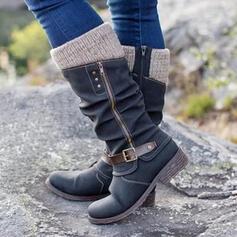 Pentru Femei Imitaţie de Piele Fară Toc Cizme până la jumătatea gambei Deget rotund cu Fermoar Nasture pantofi