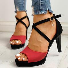 De mujer Ante Tacón stilettos Salón con Perlas de imitación Hebilla zapatos