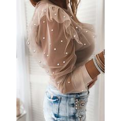 Solido In rilievo Girocollo Maniche lunghe Elegante Camicie