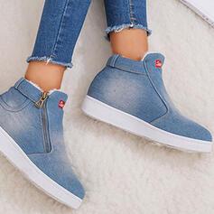 Women's Canvas Flat Heel Flats With Zipper Print shoes