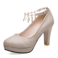 De mujer Brillo Chispeante Tacón ancho Salón Plataforma Cerrados con Rhinestone Borla zapatos