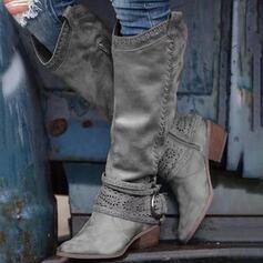 Donna PU Tacco spesso Stivali al ginocchio Punta rotonda con Fibbia Cerniera scarpe