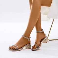 De mujer PU Tacón ancho Sandalias Salón con Hebilla zapatos