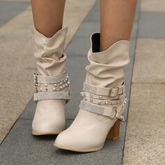 Vrouwen Kunstleer Chunky Heel Ronde neus met Klinknagel Gesp Effen kleur schoenen