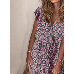 Print Cap Sleeve A-line Casual Midi Dresses