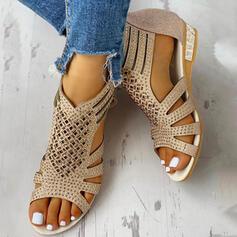 De mujer PU Tipo de tacón Tacón bajo Sandalias Encaje con Agujereado zapatos