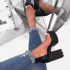 Women's PVC Chunky Heel Sandals Pumps Platform Peep Toe shoes