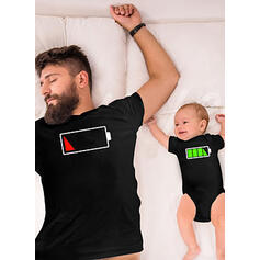Papai e eu Caricatura Combinando Camisetas