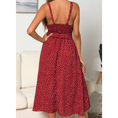 PolkaDot Sleeveless A-line Slip/Skater Sexy/Casual/Vacation Midi Dresses