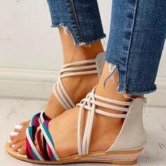 De mujer Ante Tacón plano Sandalias Encaje con Cremallera zapatos