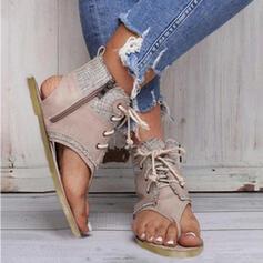De mujer Lona Tacón plano Planos Encaje con Cremallera Agujereado zapatos