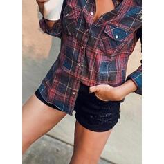 Tartan Risvolto Maniche lunghe Bottone Casuale Shirt and Blouses
