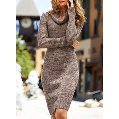 Solid Bucată tricotată Helancă Rochie pulover