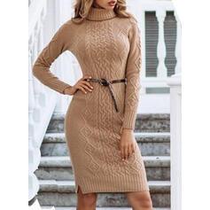 Düz / Tek (Renk) Rolák Neformální Dlouhé Upnuté Svetrové šaty