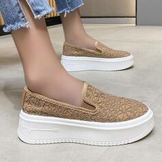 Femmes Tissu Talon plat Glisser sur avec Couleur unie chaussures