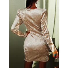 Solid Long Sleeves/Puff Sleeves Bodycon Above Knee Party Dresses