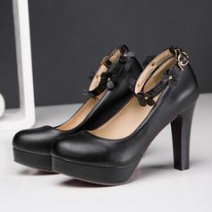 Women's Leatherette Stiletto Heel Pumps Platform Closed Toe With Buckle Flower shoes