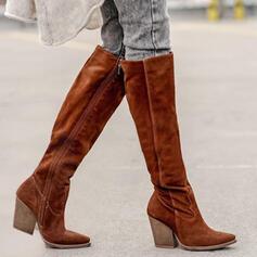 De mujer Ante Tacón ancho Botas Botas de invierno con Cremallera Color sólido zapatos