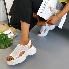De mujer Tela Malla Tacón ancho Sandalias Encaje con Agujereado Velcro zapatos
