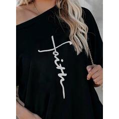 Nadruk Figura Na jedno ramię Długie rękawy Casual T-shirty
