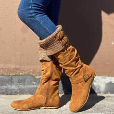 Vrouwen Suede Flat Heel Half-Kuit Laarzen Ronde neus met Gesp Rits schoenen