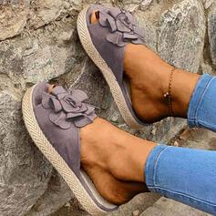 De mujer Ante Tacón plano Sandalias Encaje Pantuflas con Flor zapatos