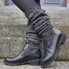 De mujer PU Tacón bajo Botas con Rivet zapatos